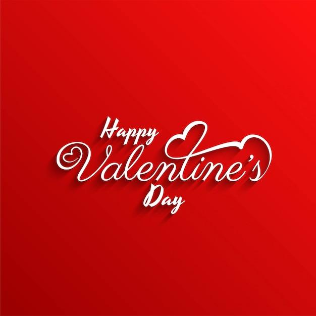 De dag modieuze rode achtergrond van de gelukkige valentijnskaart Gratis Vector
