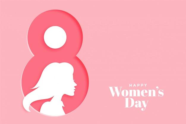 De dag roze banner van creatieve gelukkige vrouwen Gratis Vector