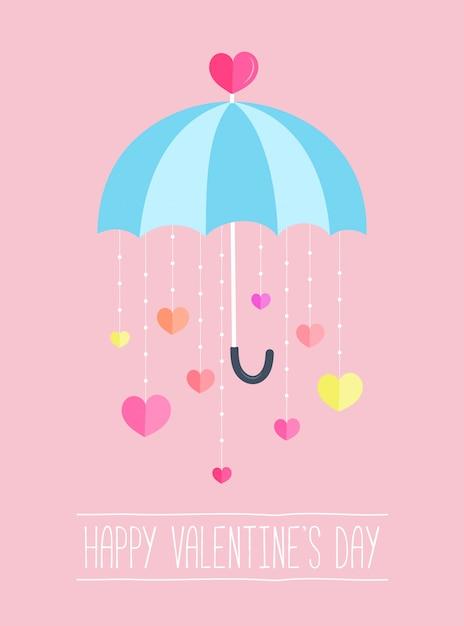 De dag van achtergrond valentijnskaart decor door paraplu met document harten die neer hangen. Premium Vector