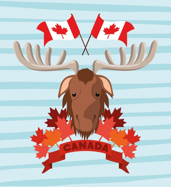 De dag van canada met amerikaanse elanden en esdoornblad Gratis Vector