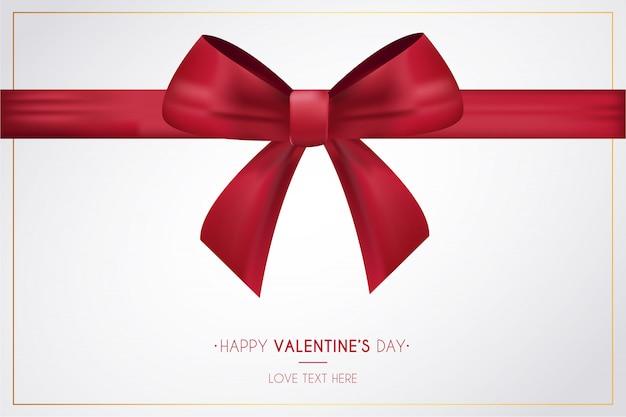 De dag van de gelukkige valentijnskaart met lintachtergrond Gratis Vector