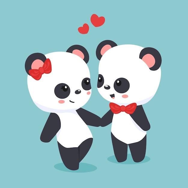 De dag van de leuke valentijnskaartpaar Gratis Vector