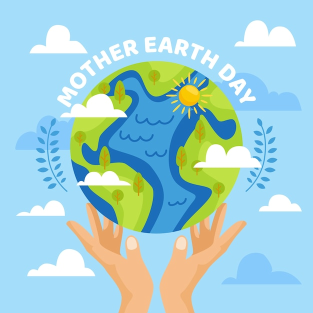 De dag van de moeder aarde vlak ontwerp als achtergrond Gratis Vector