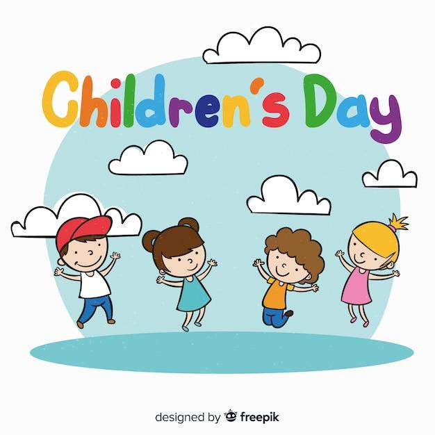 28e89c801b1 De dag van kinderen hand getrokken meisjes jongens achtergrond Gratis Vector