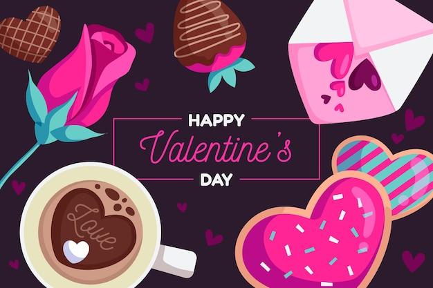 De dag van valentijnskaarten achtergrond in plat ontwerp Gratis Vector