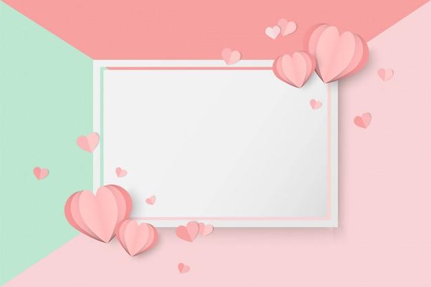 De dag van valentijnskaarten roze achtergrond met hartvorm Premium Vector