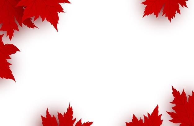 De dagachtergrond van canada van rode esdoornbladeren Premium Vector