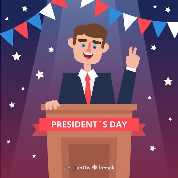 De dagachtergrond van de glimlachende president van de president Gratis Vector