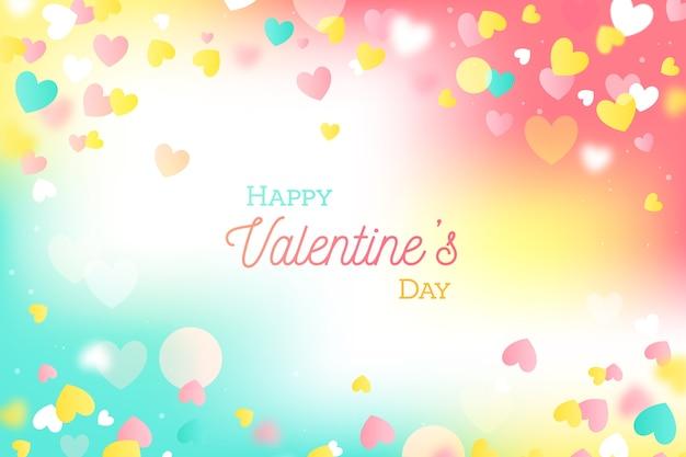 De dagachtergrond van de kleurrijke vlakke valentijnskaart Gratis Vector