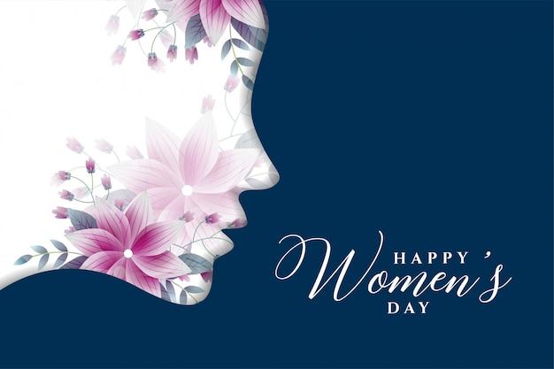 De dagachtergrond van gelukkige vrouwen in bloemstijl Gratis Vector