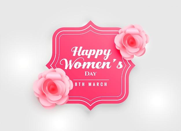 De dagachtergrond van gelukkige vrouwen met roze roze bloem Gratis Vector