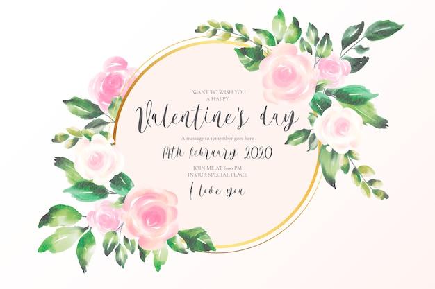De dagachtergrond van valentine met zachte roze bloemen Gratis Vector