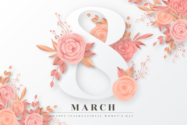 De dagachtergrond van vrouwen met gouden en bloost bloemen Gratis Vector
