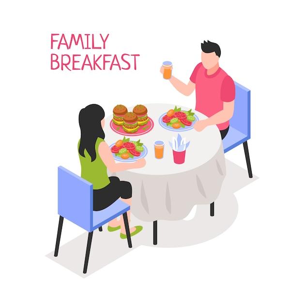 De dagelijkse man en de vrouw van het familieontbijt tijdens ochtendmaaltijd bij lijst aangaande witte isometrische illustratie Gratis Vector