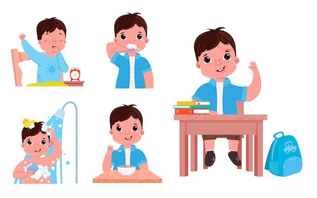 De dagelijkse routine van het kind is een jongen. terug naar school gaan. Gratis Vector