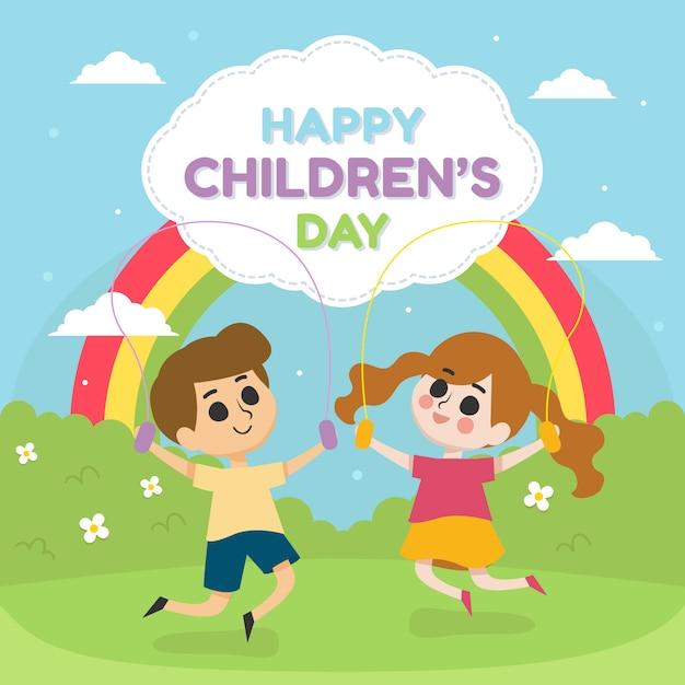 De dagillustratie van gelukkige kinderen met kinderen speelt in het park met regenboog Premium Vector