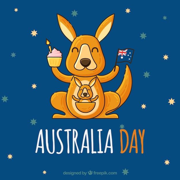 De dagontwerp van australië met gelukkige kangoeroe Gratis Vector
