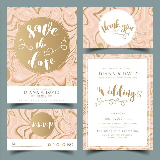 De de uitnodigingskaart van het huwelijk, dankt u kaardt, kaart rsvp en bewaart de kaart van de datum Premium Vector