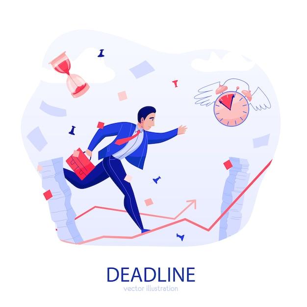 De deadline van het tijdbeheer benadrukt vlakke samenstelling met zakenman die langs stijgende pijl in het midden van vliegende documenten vectorillustratie meeslepen Gratis Vector