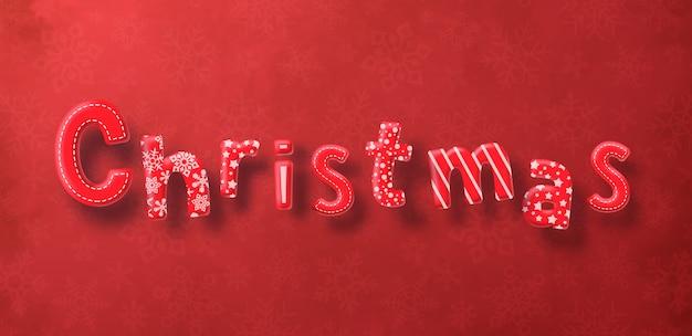 De decoratietekst van kerstmis op rode achtergrond Premium Vector
