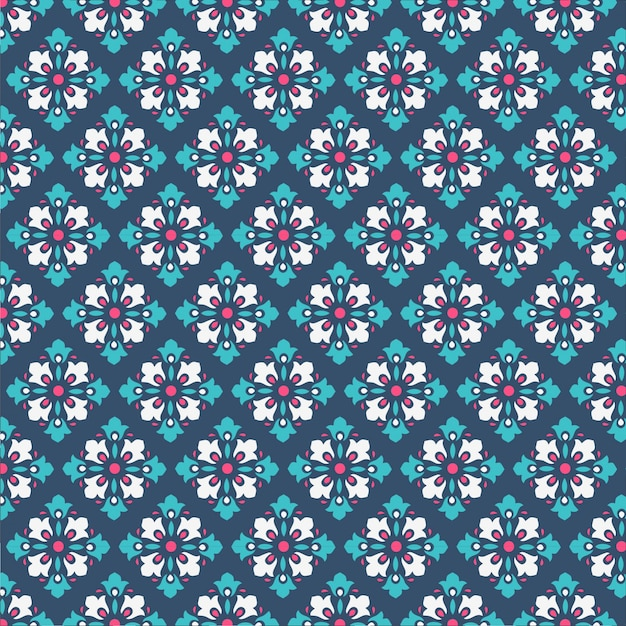 De decoratieve achtergrond van het damastpatroon met koele blauwe en groene kleur voor tegelstof en textuur Premium Vector