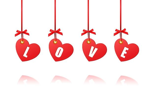 De decoratieve harten van de valentijnskaart op witte achtergrond Premium Vector