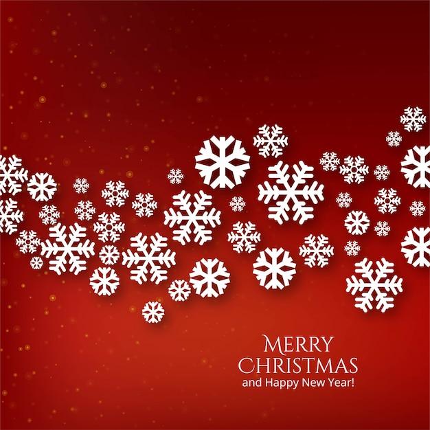 De decoratieve sneeuwvlokken van de kerstmisviering op rood Gratis Vector