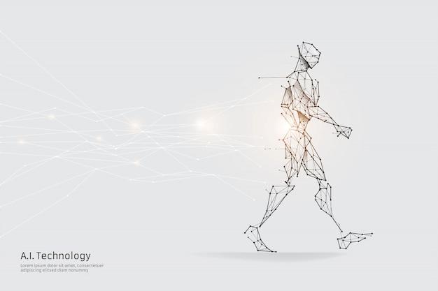 De deeltjes, geometrische kunst, lijn en punt van menselijk lopen. Premium Vector