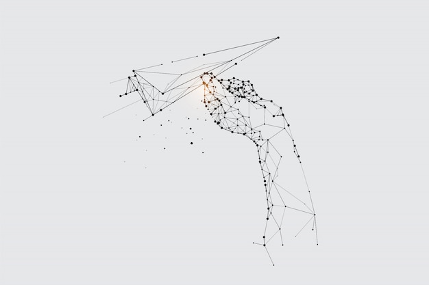 De deeltjes, geometrische kunst, lijn en punt van vliegende papieren raket. Premium Vector