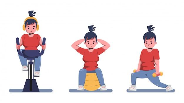 De dikke vrouw zorgt voor gezondheid en wil gewichtsconcept verliezen. blijf thuis en blijf gezond. Premium Vector