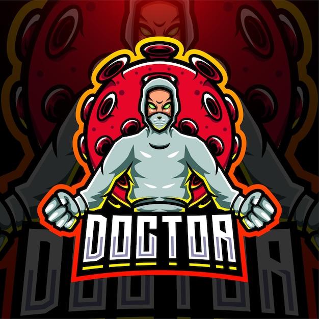 De dokter met het logo van de mascotte van het coronavirus esport Premium Vector