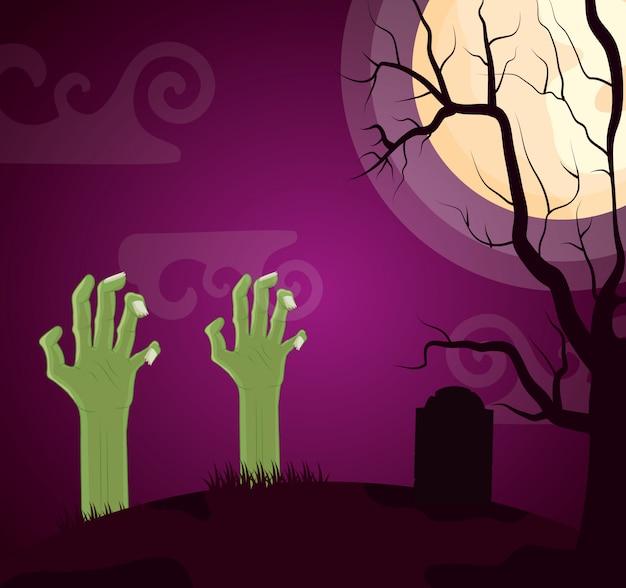 De donkere begraafplaats van halloween met zombiehand Gratis Vector