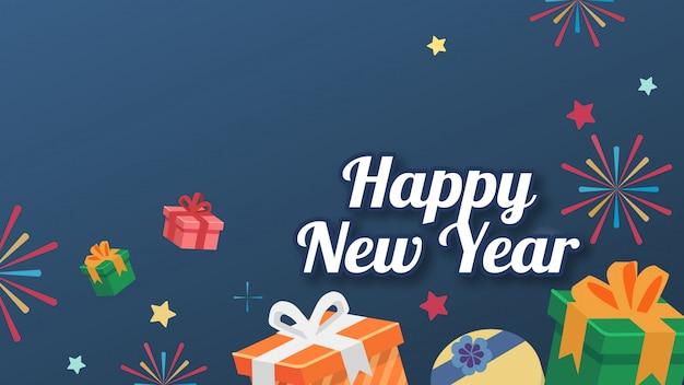 De doos gift vlakke stijl bg ster met tekst gelukkig nieuwjaar card-versie Premium Vector