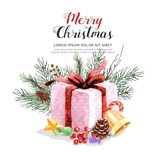 De doos van de waterverfgift op pijnboomblad en vastgestelde kerstmis. Premium Vector