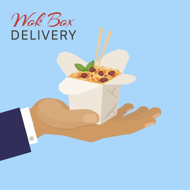 De dooslevering van de voedsel chinese wok, illustratie. container met aziatische fast food van restaurant, lunch noedels keuken. Premium Vector