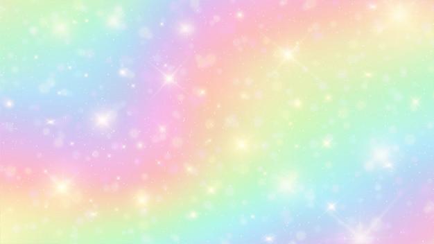 De eenhoorn in pastel hemel met regenboog achtergrond Premium Vector