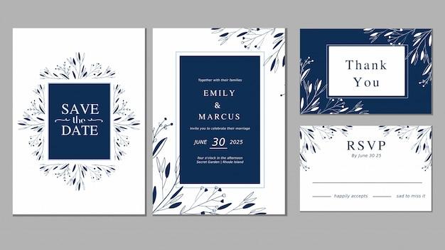 De eenvoudige blauwe ornamentinstallatie bloemen bewaart de de inzamelingskaartinzameling van de datumhuwelijk Premium Vector
