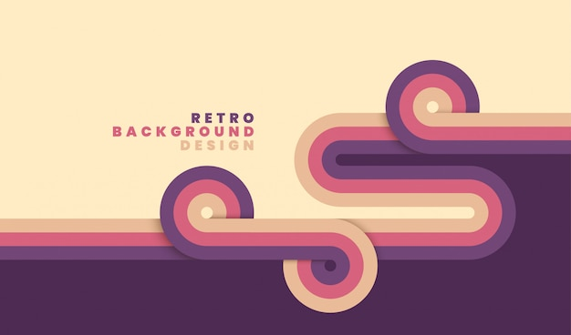 De eenvoudige retro strepen van het achtergrondontwerpverstand. Premium Vector
