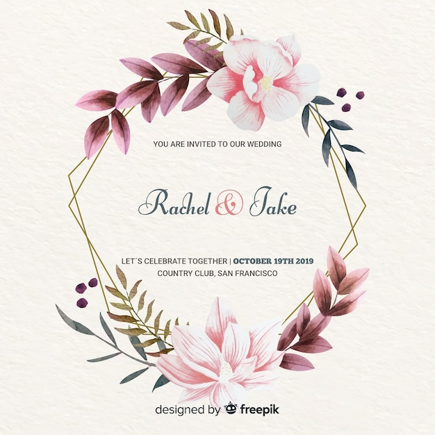 De elegante bloemenuitnodiging van het kaderhuwelijk Gratis Vector