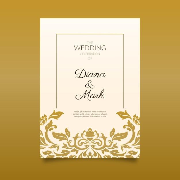 De elegante uitnodiging van het damasthuwelijk Gratis Vector
