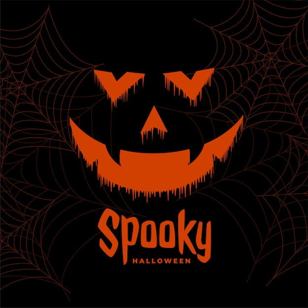 De enge gelukkige halloween-achtergrond van het spookgezicht Gratis Vector
