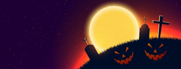 De enge halloween-banner van de nachtscène met tekstruimte Gratis Vector