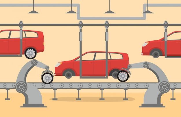 De fabriek transportband op de assemblage van auto robots robot hand, arm, aanwijsapparaat. Premium Vector