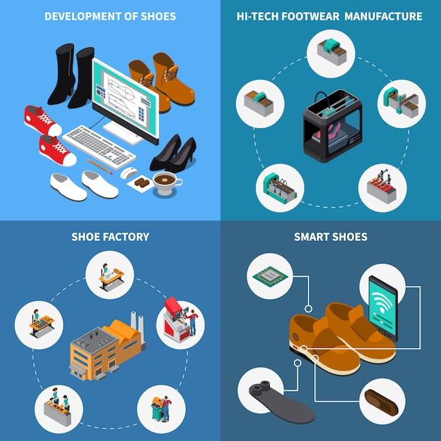 De fabrieks isometrische pictogrammen van de schoeisel die met slimme schoenen worden geplaatst Gratis Vector