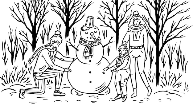 De familie maakt een sneeuwpop voor kerstmis. Premium Vector