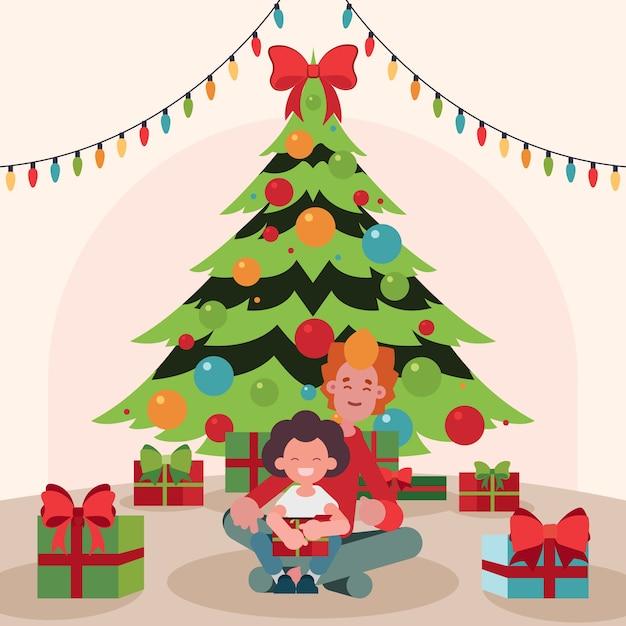 De familiescène van kerstmis met boom en koordlichten Gratis Vector
