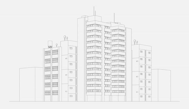 De flatbouwsteen van het stadsarchitectuur met toren en wolkenkrabber lineaire schets vectorillustratie Gratis Vector
