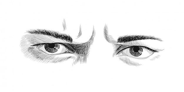 De fronsende ogen van mannen met woede Premium Vector