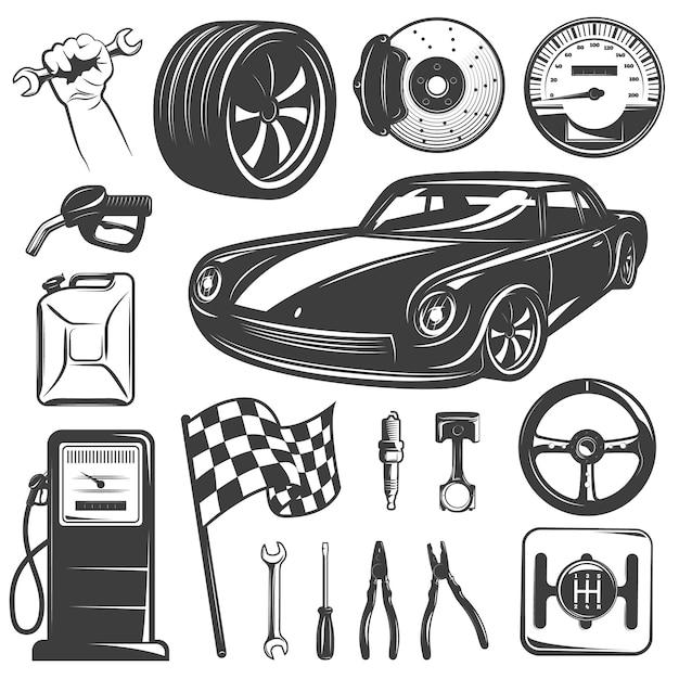 De garage zwart geïsoleerd die pictogram van de autoreparatie met hulpmiddelentoebehoren en materiaal voor autoreparatiewerkplaats vectorillustratie wordt geplaatst Gratis Vector