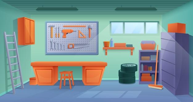 De garagebinnenland van de beeldverhaalworkshop met hulpmiddelen en meubilair, vectorillustratie Premium Vector